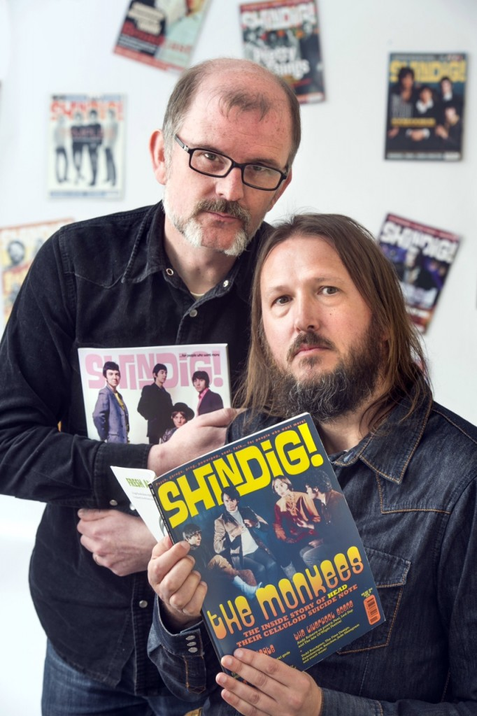 Pics - Adrian Sherratt - 07976 237651 Andy Morten and Jon Mills (right) the editors of the music magazine Shindig, pictured at Andy's home in Frome, Somerset (19 April 2015).