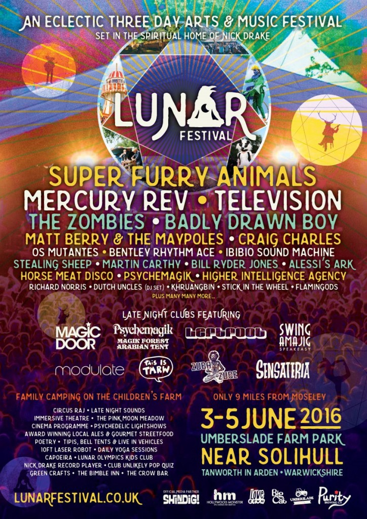 Lunar Festival 2016 inc DJs and club shows - flyer